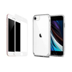 2PACK - 3D bílé ochranné sklo + transparentní kryt pro iPhone 7/8/SE 2020