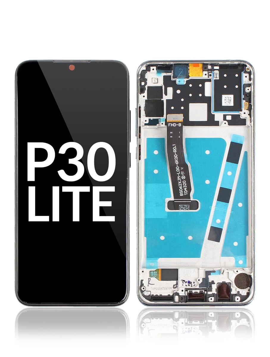 LCD displej + dotyková plocha pro Huawei P30 Lite, s rámem - modrý