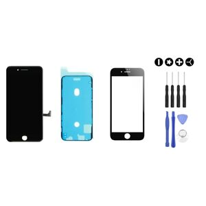 MULTIPACK - ORIGINAL Černý LCD displej pro iPhone SE 2020 + LCD adhesive (lepka pod displej) + 3D ochranné sklo + sada nářadí