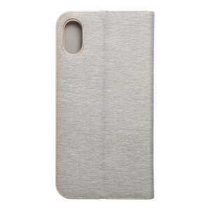 Forcell LUNA Book Gold for iPhone Xs silver