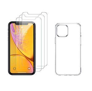 4PACK - 3x ochranné tvrzené sklo (s horním výřezem na přední kameru) + průsvitný kryt - iPhone 11
