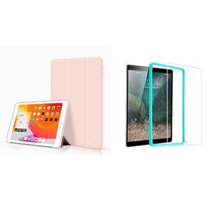 Trifold Smart Case - kryt se stojánkem pro iPad 2/3/4 - ružový + Ochranné tvrzené sklo s instalačním rámečkem