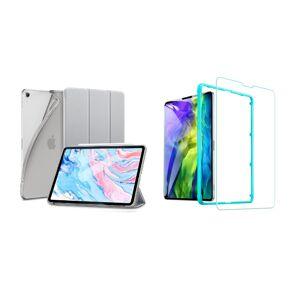 """Trifold Smart Case - kryt se stojánkem pro iPad Pro 11"""" 2018/ 2020/ 2021 - šedý + Ochranné tvrzené sklo s instalačním rámečkem"""