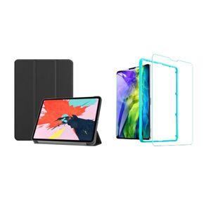 """Trifold Smart Case - kryt se stojánkem pro iPad Pro 12.9"""" 2018/ 2020/ 2021 - černý + Ochranné tvrzené sklo s instalačním rámečkem"""